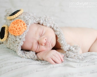 Gray Owl Hat Newborn Photo Prop