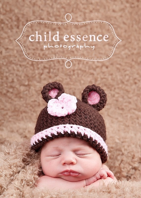 Pink Teddy Bear Hat Newborn Photo Prop - Baby Girl