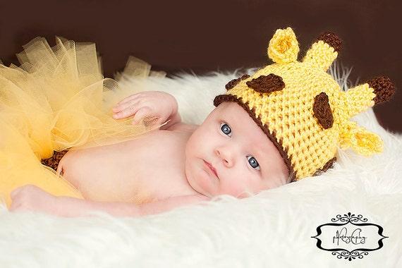 Giraffe Hat Newborn Photo Prop Baby Boy Girl Unisex Yellow Brown