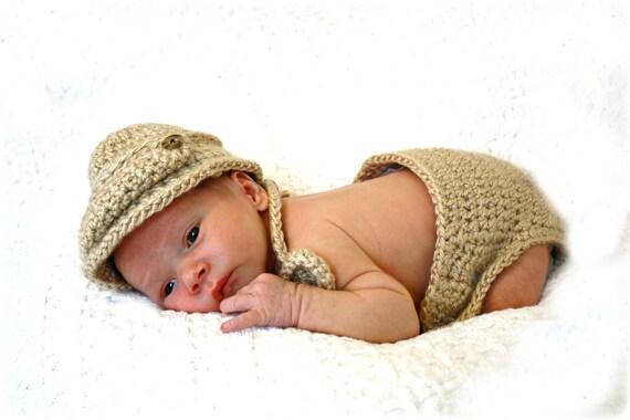 Newsboy Cap Diaper  Cover and Bow Tie Set Newborn Photo Prop Baby Boy Light Barley Brown