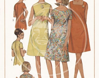 Vintage Dress Pattern Illustration (7120) - 10x14 Giclée Canvas Print