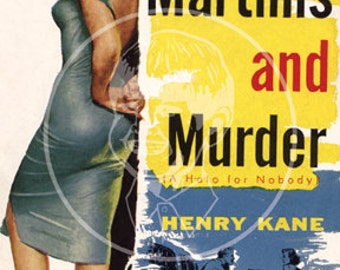 Martinis and Murder - 10x15 Giclée Canvas Print of a Vintage Pulp Paperback Cover