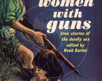 Women with Guns - 10x17 Giclée Canvas Print of a Vintage Pulp Paperback Cover