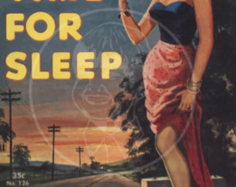 No Time for Sleep - 10x14 Giclée Canvas Print of a Vintage Pulp Paperback Cover