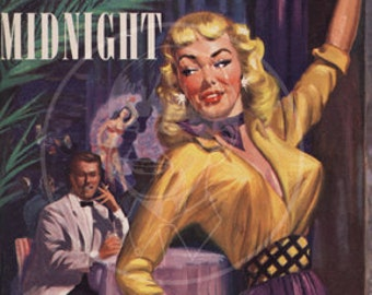 Pleasure at Midnight - 10x14 Giclée Canvas Print of a Vintage Pulp Paperback Cover