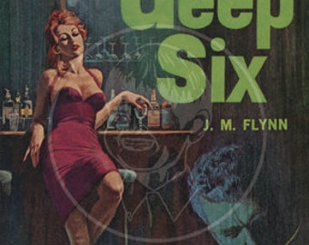 Deep Six - 10x15 Giclée Canvas Print of a Vintage Pulp Paperback cover