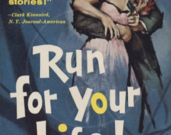 Run for Your Life - 10x15 Giclée Canvas Print of a Vintage Pulp Paperback Cover
