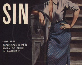 America's Cities of Sin - 10x16 Giclée Canvas Print of a Vintage Pulp Paperback Cover