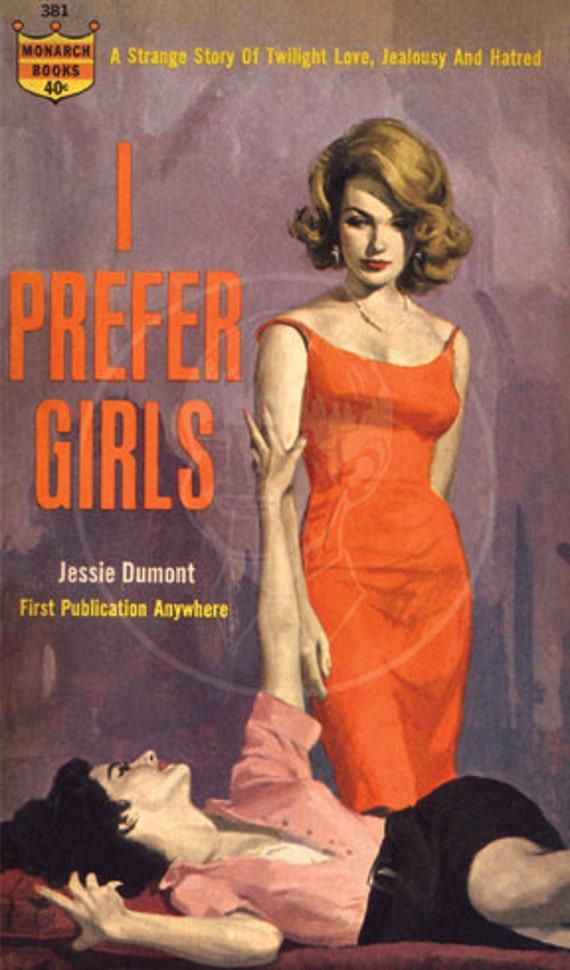 I Prefer Girls - 10x17 Giclée Canvas Print of Vintage Pulp Paperback