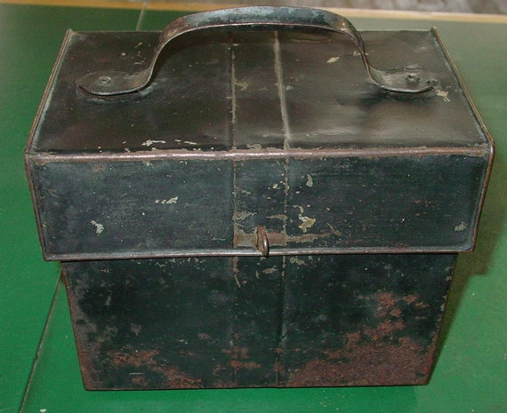 RESERVED Vintage Tin  Lunch Box Serving Tin Rustic Industrial Storage