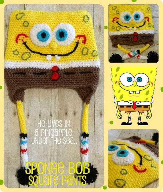 Free Crochet Pattern Spongebob Hat : Items similar to Custom Sponge Bob Square Pants Crochet ...
