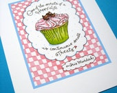 Happy Life Quote Print. Cupcake Art. Pink Kitchen Wall Decor, 8x10 Print