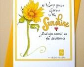 Be Happy Card - Encouragement Card - Sympathy Card - Sunflower Sunshine