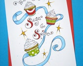 Cute Christmas Card, Cupcake Christmas - Sugar and Spice