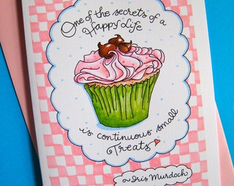 Birthday Cupcake Card - Birthday Card for Her - Birthday Card for Friend - Happy Birthday Card - Small Treats Happy Life Quote