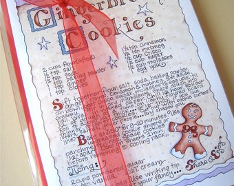 Gingerbread Cookies Christmas Cards Set - Christmas Cookie Recipe Cards - Boxed Set of 10