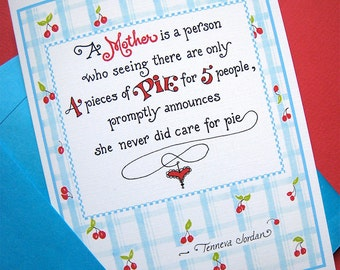 Funny Mom Card - Mothers Day Card - Pie Quote - Retro Cherry Mother's Day Card