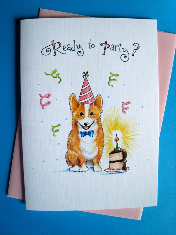 Corgi Birthday Card, Dog Cards, Welsh Corgi