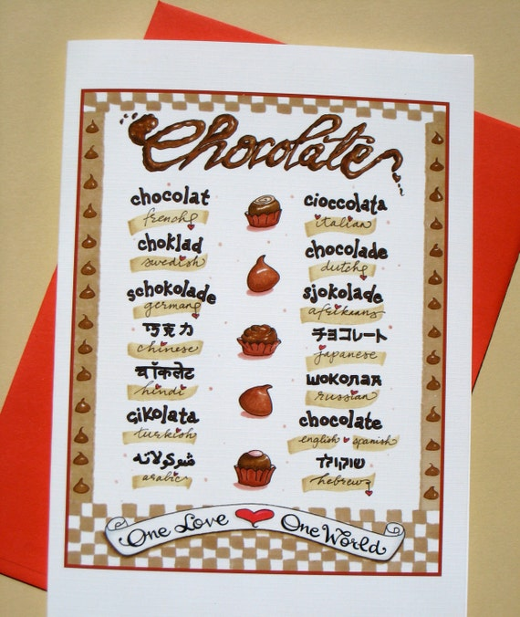 World Languages Chocolate Card - Chocolate Gift Card - Chocolate Typography