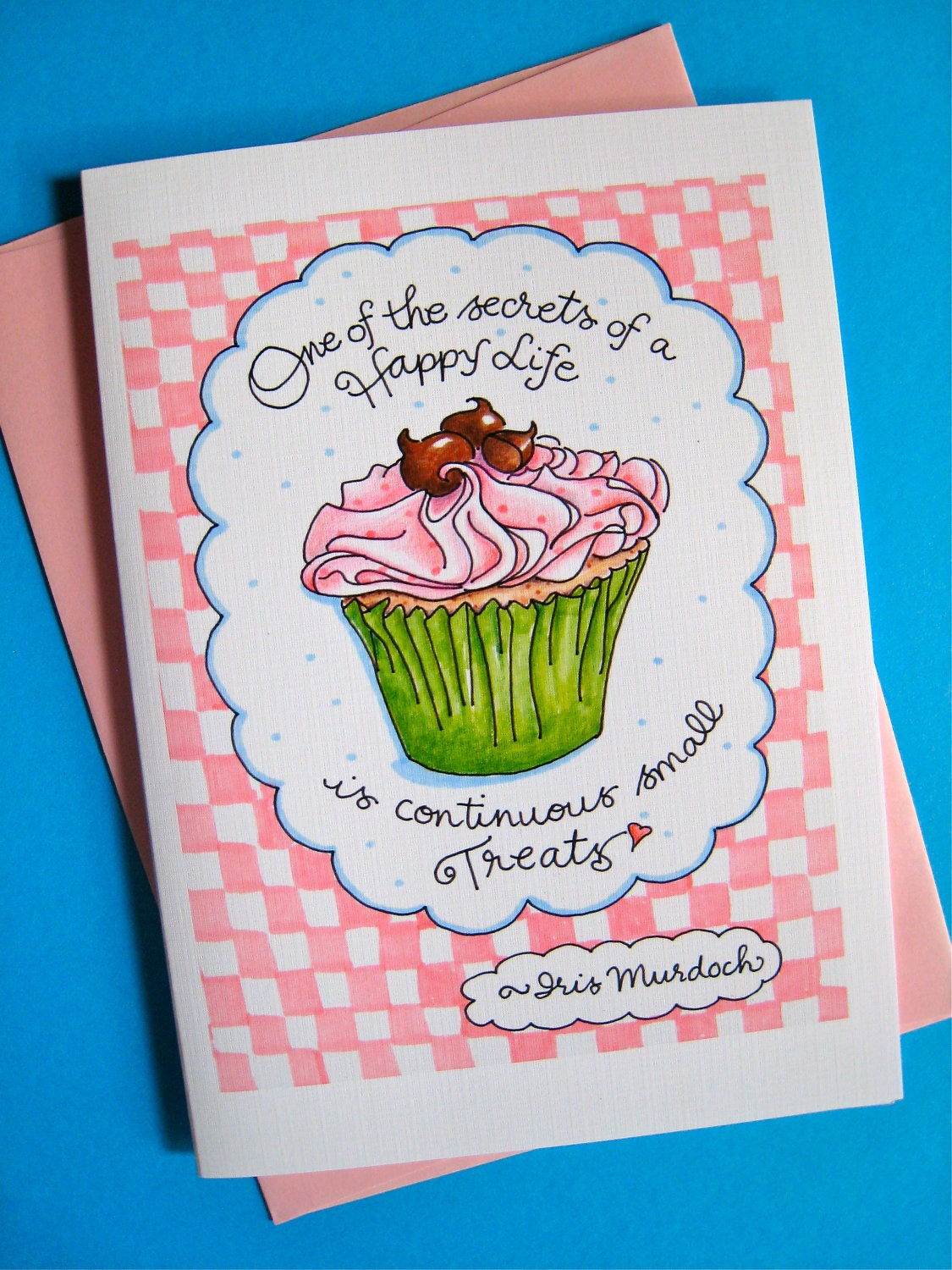 cupcake birthday card happy life quote card by pattiejansen, Birthday card
