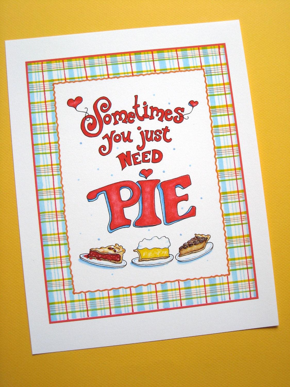 Kitchen Artwork Pie Print Country Kitchen Decor Pie Lover Gift Hand