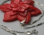 Red Shell Flower Pendant on Sterling Silver Chain - Flower Jewellery, Gift for Her, Christmas Gift
