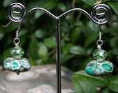 Green Dangle Earrings - Quartz and Magnesite Jewelry Gift