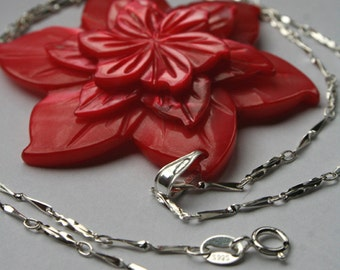 Red Shell Flower Pendant on Sterling Silver Chain - Flower Jewellery, Gift for Her