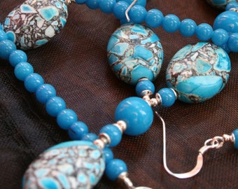 Bright Blue Necklace and Earrings - Vibrant Mosaic Magnesite and Jade Jewellery Set, Colorful Modern Summer Jewelry