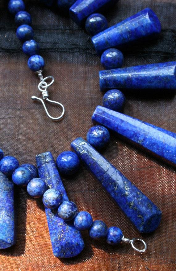 Blue Egyptian Cleopatra Style Jewelry, Focal Drop Necklace - Vibrant Lapis Lazuli with Pyrite, Semi precious Gemstone Beads