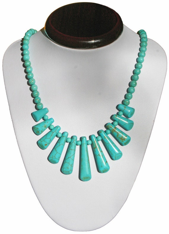 Blue Howlite Egyptian Style Focal Necklace - Graduating Drop,  Hippy Chic Jewelry