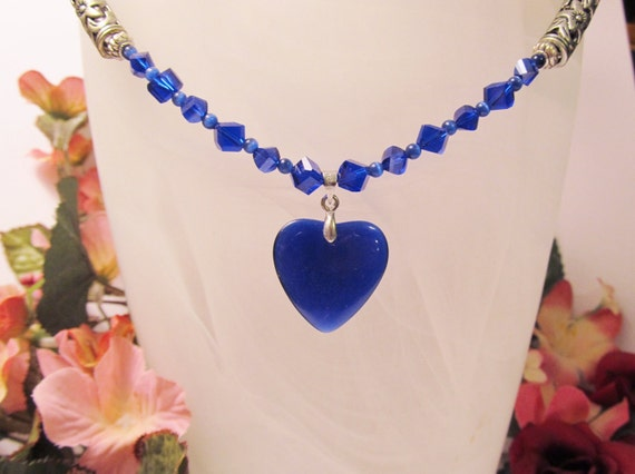 Royal Blue Cats Eye Heart Pendant on Crystal and Cats Eye Necklace