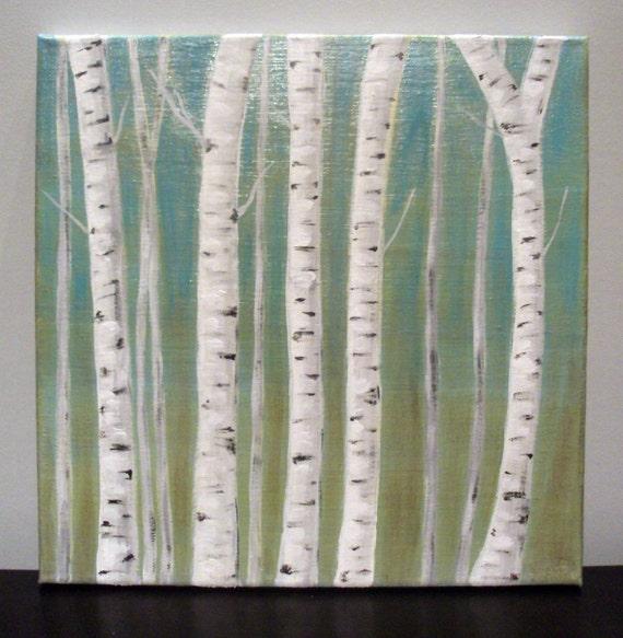 "12x12"" birch tree canvas"