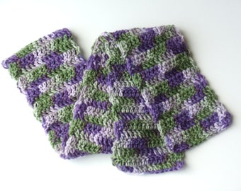 Purple and Green Crochet Scarf Medium Weight Scarf Transitional Scarf Variegated Scarf Womens Scarf (S101 Fresh Lilac)