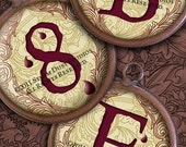 Victorian Goth Textured Alphabet and Numbers - 1.5 Inch Circles - Blood Drops - Two Digital Collage Sheets - Instant Download and Print