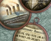 """Victorian Steampunk Titanic 100-year Anniversary Collection - 1.5"""" Circles - Digital Collage Sheet - Instant Download and Print"""