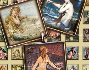 Victorian Mermaids - 1 inch Squares - Sea Nymphs, Sirens - Digital Collage Sheet - Instant Download and Print