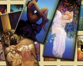 Maxfield Parrish - Art Nouveau Revival - 1x2 inch Domino Tiles - Digital Collage Sheet - Instant Download and Print