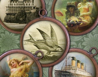 1 inch Circles-Sea Life Victorian Digital Collage Sheet-Sharks,Ships,Shells,SeaLife,Bathing Beauties-Steampunk