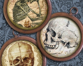 Antique Goth Skulls with Victorian Scroll, Script & Antique Maps - 30mm Circles - Digital Collage Sheet - instant Download and Print