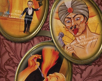 Vintage Circus Sideshow Freaks - 30x40mm Cameo-Size Oval Images - Digital Collage Sheet - Instant Download and Print