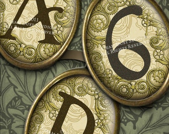 Textured Steampunk Alphabet, Numbers with Art Nouveau Gears - 30x40mm Cameo Ovals - 2 Digital Collage Sheets - Instant Download and Print