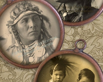 2 Inch Circles - 19th Century Native American Indians - Antique Images - Digital Collage Sheet - Instant Download