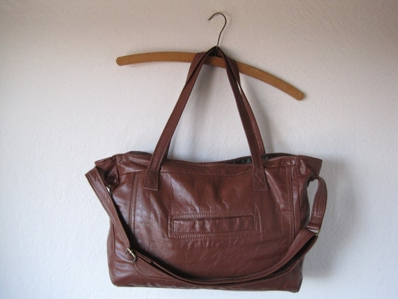 RESERVED brown leather bag with three straps and magnetic snap closure , handmade from repurposed materials