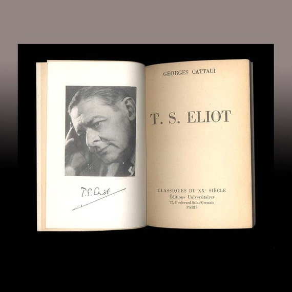 T. S. Eliot by Georges Cattaui, Vintage French Book - 1957 Editions Universitaires, Critical Study of the Great Poet