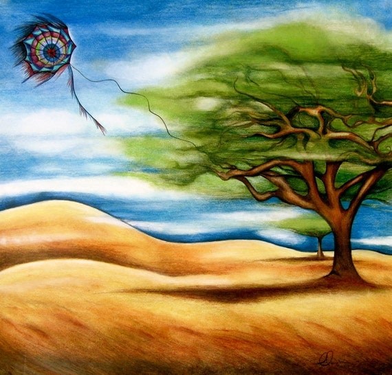 SPRING SALE The tree and kite art  print by Claudia Tremblay