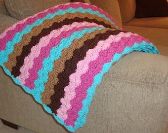 Bright Shell Stripes Throw/Blanket in Pink Aqua Brown Tan