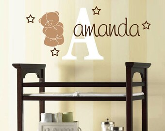 Teddy Bear Wall Decal, Gender Neutral Bear Decal, Bear Stickers, Teddy Bear Room Decor, Playroom decals, Initial Decals, Large Name Decal