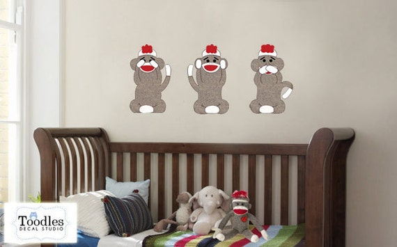 Sock monkey nursery sock monkey wall decal sock monkey for Nursery monkey fabric