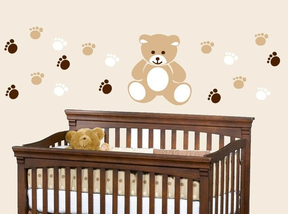 bear wall decal nursery teddy bear decals baby bear wall art greedy bear wall sticker thetipi